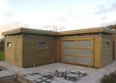 Modern tuinhuis van geïmpregneerd hout